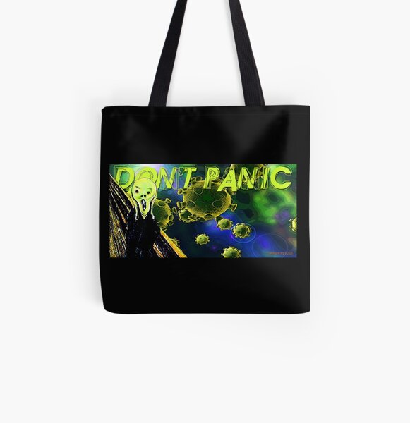 Don't Panic All Over Print Tote Bag