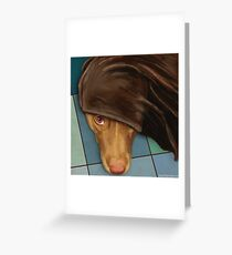 Painting of a Cute Red Nose Pitbull under a Blanket  Greeting Card