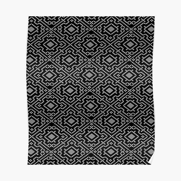 Guerrero Kene | Negro | Patrón de geometría sagrada Shipibo de David Ramirez Póster