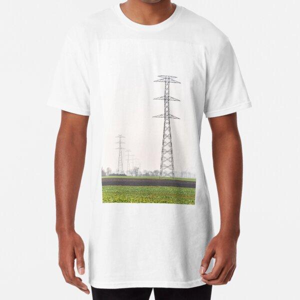 High voltage overhead power line pylons Long T-Shirt