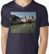 Indres River Reflections, Loches, France 2012 Men's V-Neck T-Shirt