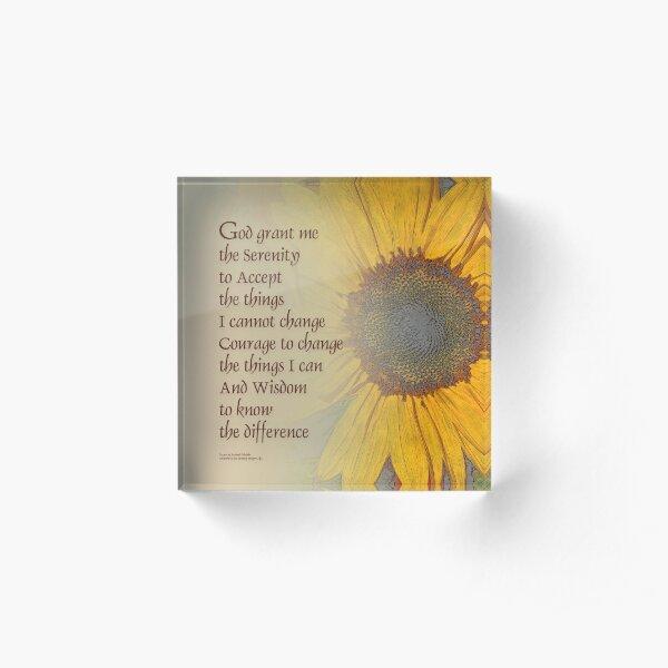 Serenity Prayer Sunflower Blend Acrylic Block