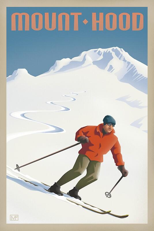Quot Vintage Ski Mount Hood Travel Poster Quot By Mitchfrey