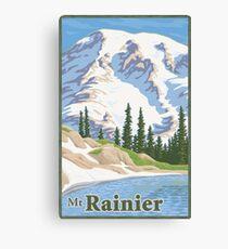 Vintage Mount Rainier Travel Poster Leinwanddruck
