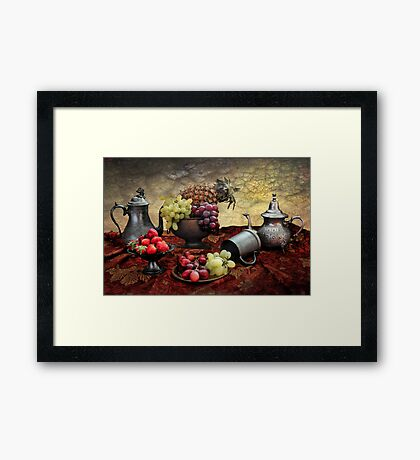 Pineapple and Grapes  Framed Print