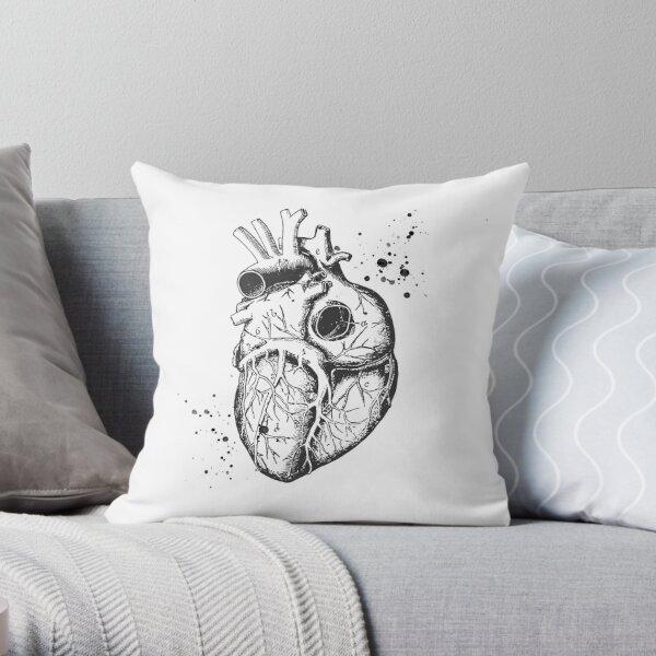 Anatomical Heart • White • Minimalist Goth Throw Pillow