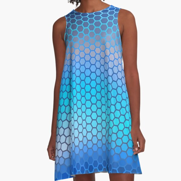 Blue Aqua Hexagon Pattern A-Line Dress