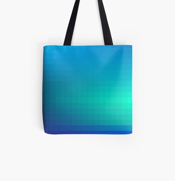 Blue Seagreen Ombre All Over Print Tote Bag