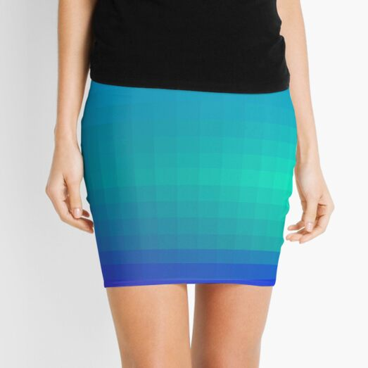 Blue Seagreen Ombre Mini Skirt