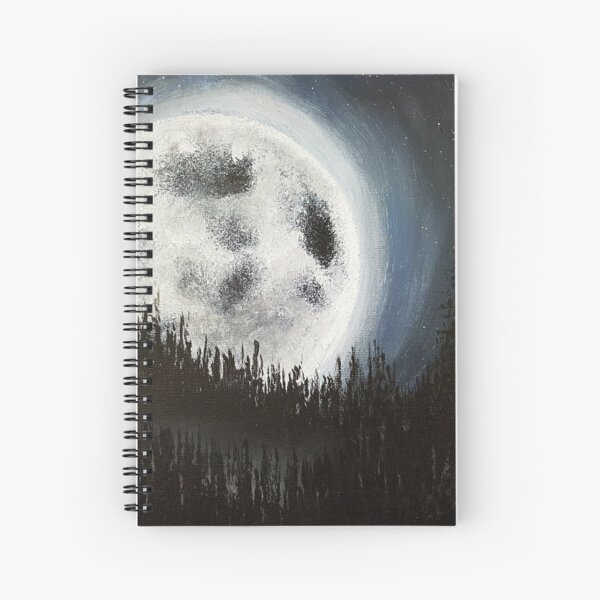 Creepy Full Moon Painting Spiral Notebook