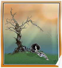Gnarled Tree and Light Beams Poster