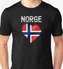 Norge - Norwegian Flag Heart & Text - Metallic T-Shirt
