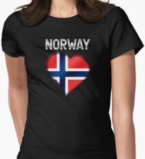 Norway - Norwegian Flag Heart & Text - Metallic Womens Fitted T-Shirt