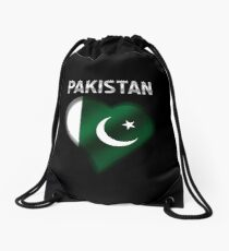 Pakistan - Pakistani Flag Heart & Text - Metallic Drawstring Bag