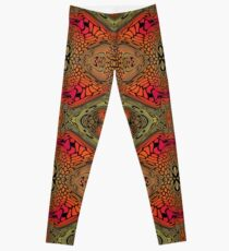 Whimsical pink, orange and green retro pattern Leggings