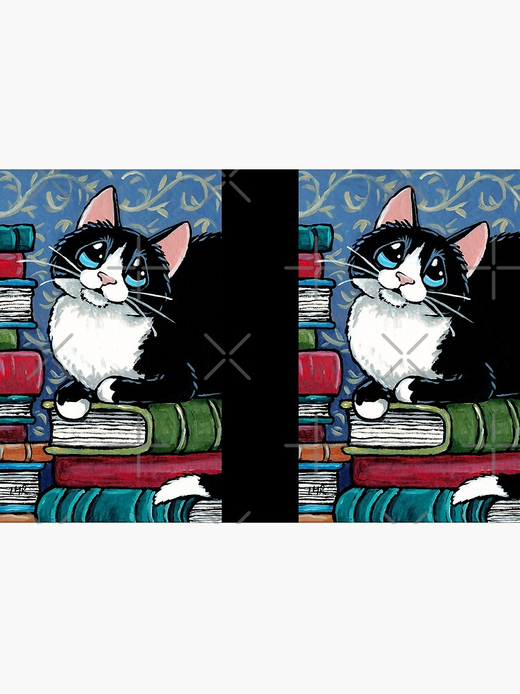 Bibliophile Cat and Piles of Books by LisaMarieArt