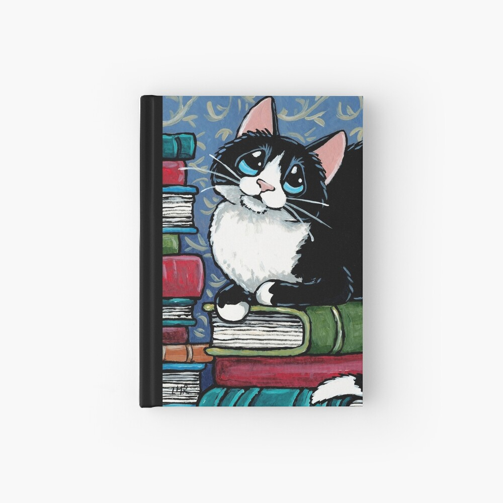 Bibliophile Cat and Piles of Books Hardcover Journal