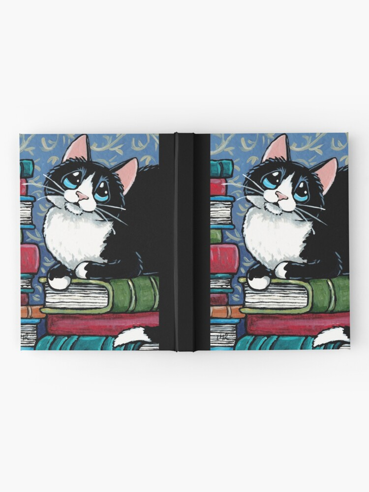 Alternate view of Bibliophile Cat and Piles of Books Hardcover Journal
