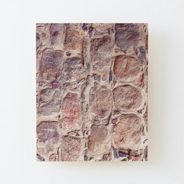 Stone Wall Background. Ancient Wall Of Dry Masonry Wood Mounted Print