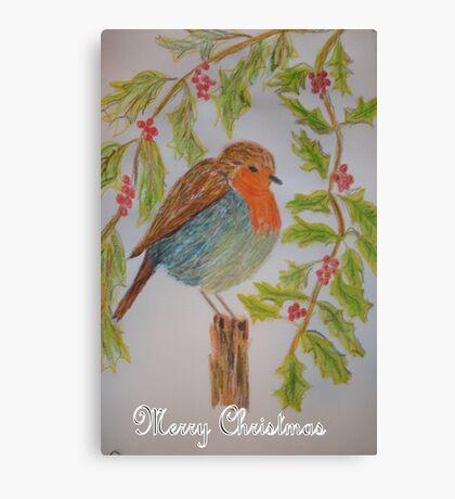 Robin Christmas card Canvas Print