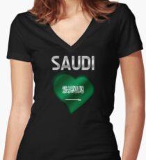 Saudi - Saudi Arabian Flag Heart & Text - Metallic Women's Fitted V-Neck T-Shirt