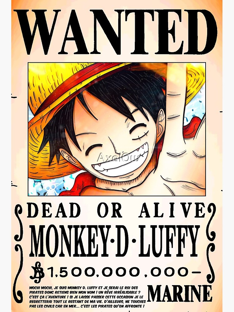 Wanted Poster Monkey D Luffy 1 5 Billion Berrys V 2 One Piece Art Board Print By Axel0w Redbubble