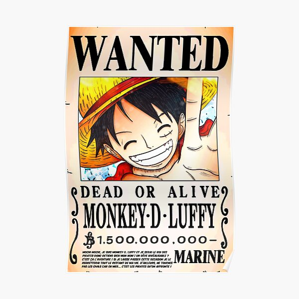 Wanted Poster Monkey D. Luffy 1.5 Billion Berrys v.2 - One Piece Poster