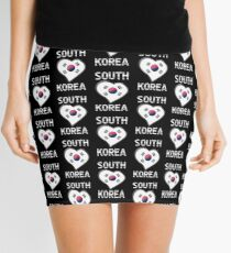 South Korea - South Korean Flag Heart & Text - Metallic Mini Skirt
