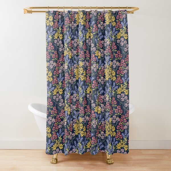 Meadow Walk In Navy by Tea with Xanthe Shower Curtain