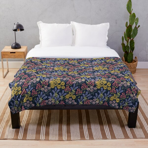 Meadow Walk In Navy by Tea with Xanthe Throw Blanket