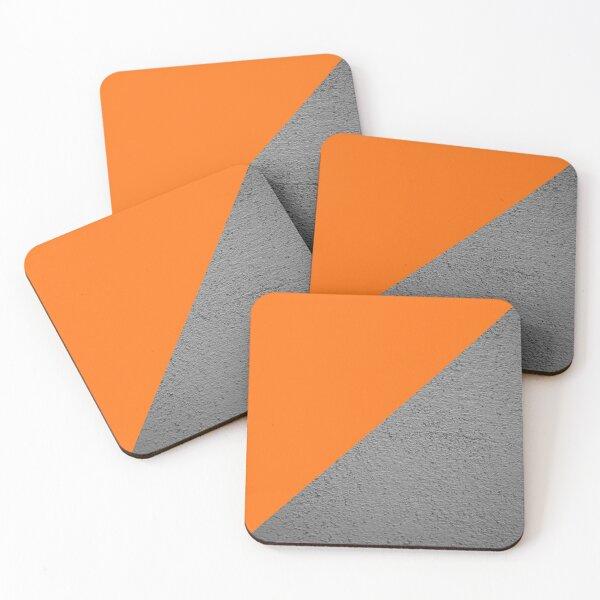 Concrete vs orange diagonal color block Coasters (Set of 4)