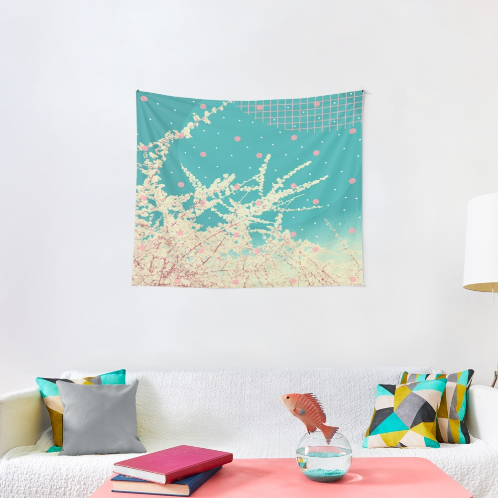 Blossoms portrait geometric collage  Tapestry