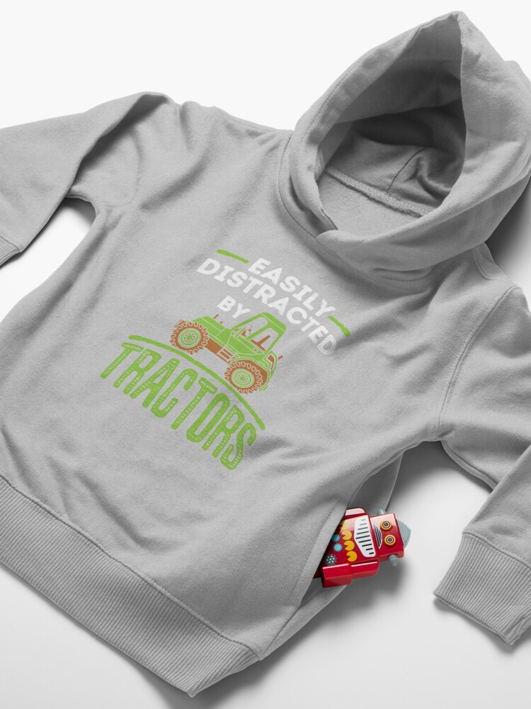 Alternate view of Easily Distracted by Tractors Toddler Pullover Hoodie