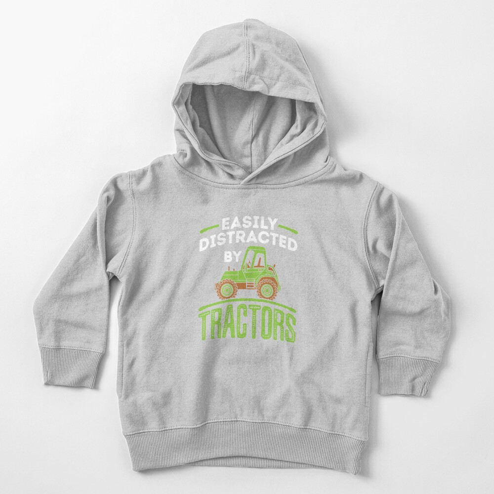 Easily Distracted by Tractors Toddler Pullover Hoodie