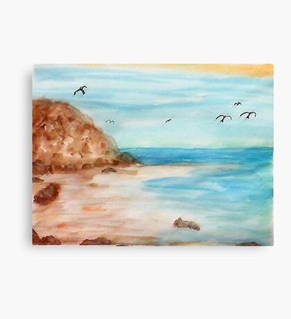 At low tide, watercolor Canvas Print