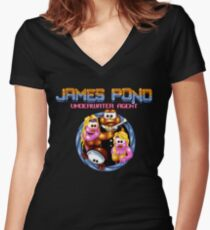 James Pond - SNES Title Screen Women's Fitted V-Neck T-Shirt