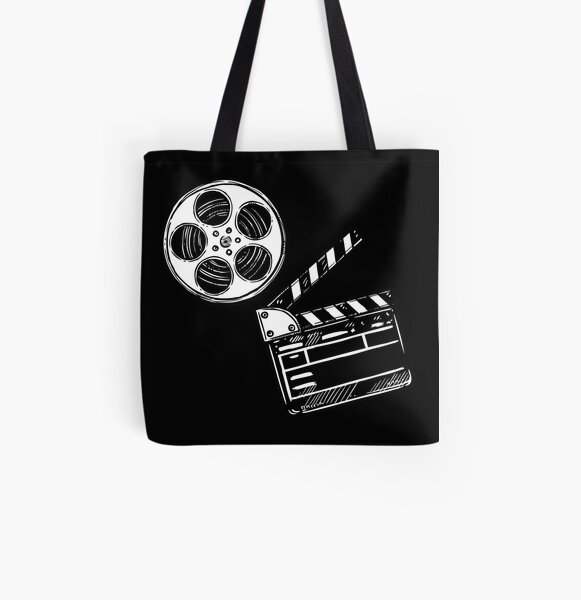 Movies, Film and Clapperboard All Over Print Tote Bag