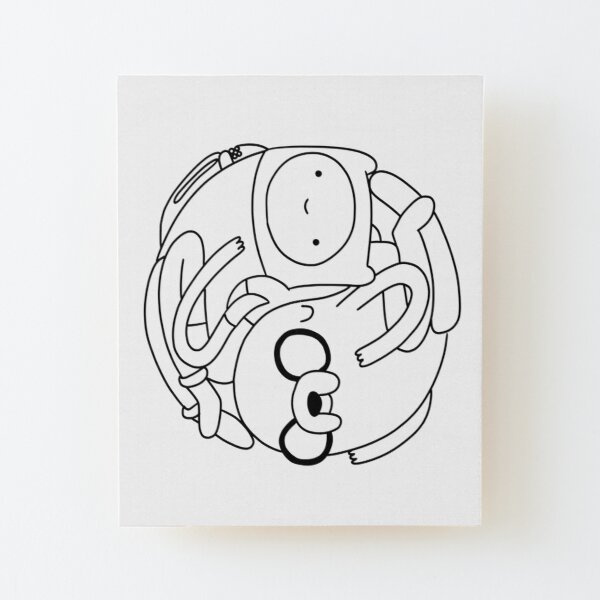 Finn and Jake |Adventure Time Characters Wood Mounted Print