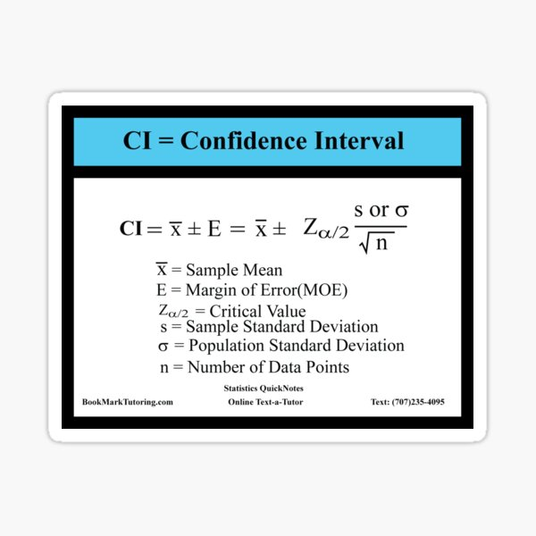 AP Statistics Confidence Interval Equation for One Population Mean: AP Statistics QuickNotes Series Sticker
