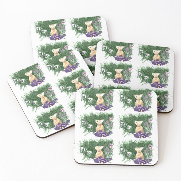 Easter  Bunny with Pansies Coasters (Set of 4)