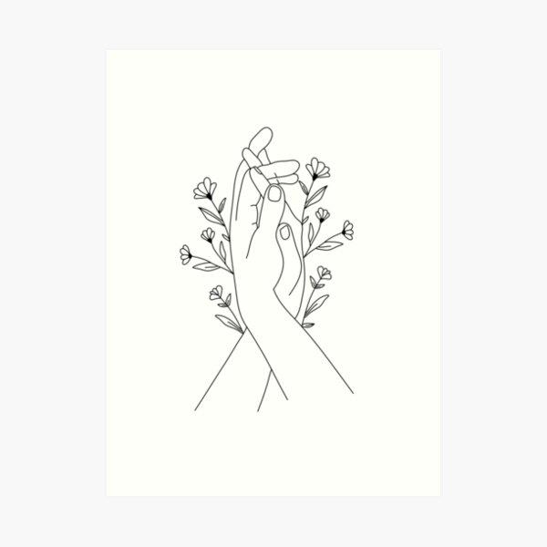 Hands Holding Flower Minimal Line Art Art Print