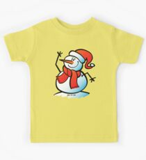 Snowman Waving Kids Tee