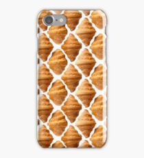 Background pattern made of croissants iPhone Case/Skin
