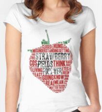 The Beatles - Strawberry Fields Forever Wordcloud Women's Fitted Scoop T-Shirt