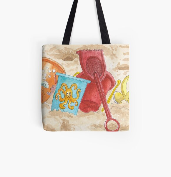 Beach time - Watercolor All Over Print Tote Bag
