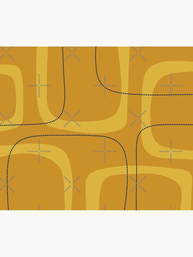 Midcentury Modern Loops and Dots Abstract Pattern in Golden Mustard Tones by kierkegaard