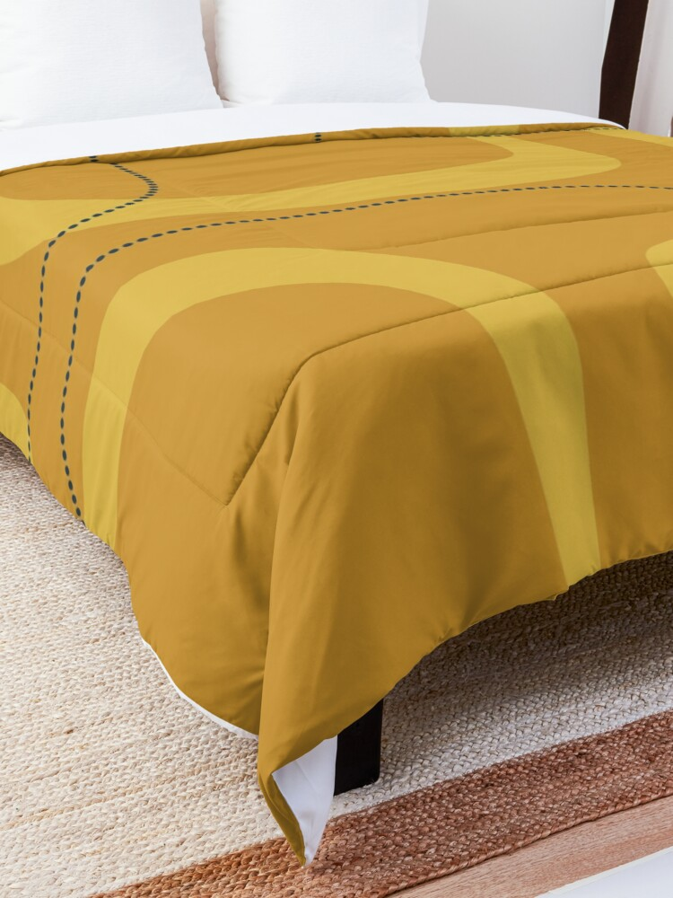 Alternate view of Midcentury Modern Loops and Dots Abstract Pattern in Golden Mustard Tones Comforter