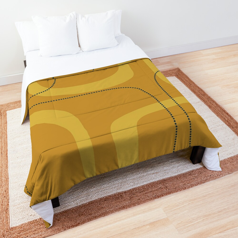 Midcentury Modern Loops and Dots Abstract Pattern in Golden Mustard Tones Comforter