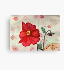 Red Flowers and a Snake Canvas Print