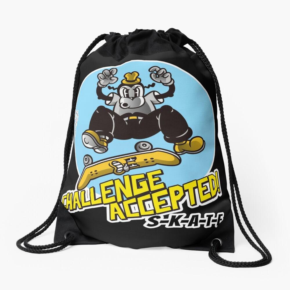 Skate or Die, Challenge Accepted SKATE Skateboarder Design Drawstring Bag